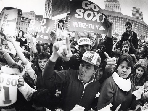 October 29, 1986: The stinging loss to the New York Mets in the 1986 World Series didn't stop these fans from gathering to thank the Red Sox at City Hall Plaza.