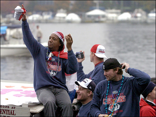 October 30, 2004: Boston Red Sox pitchers Pedro Martinez, Curt Schilling and Derek Lowe rode a duck boat up the Charles River during a rolling rally to celebrate the Sox World Series win.