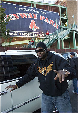 Ortiz waved to fans waiting at Fenway Park.