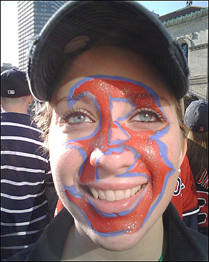 Jenna Luongo of Everett paid someone to paint the 'B' on her face.