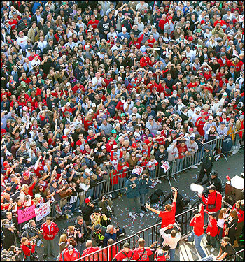 Papelbon certainly had a crowd for his antics today, as thousands of fans clad in red pressed up against the fences to get a view of the duck boats carrying the champs.