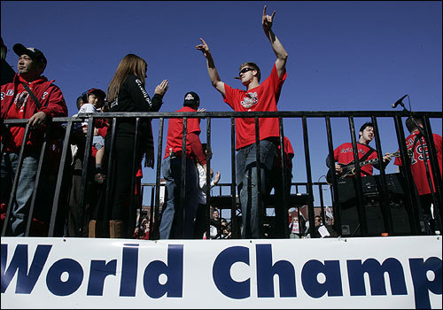 Papelbon, arms stretched to the sky, celebrated being a world champion.