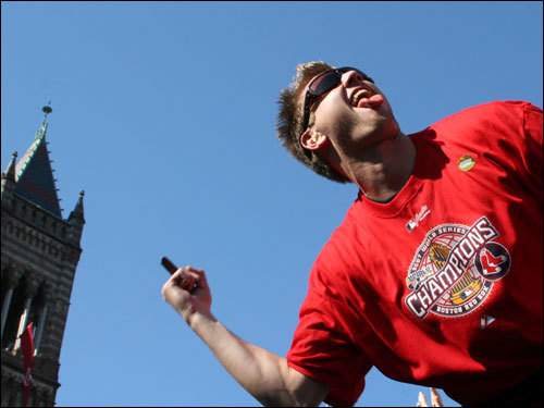 A goofy Papelbon greeted cheering fans in Copley Square.