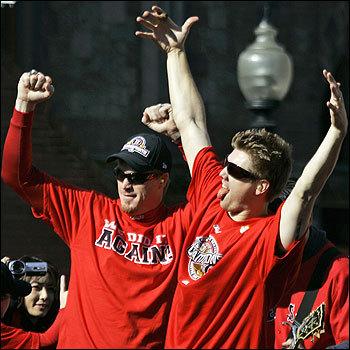 Timlin and Papelbon enjoyed the celebration.