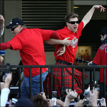 Papelbon and Mike Timlin locked arms and swung each other around to the music.