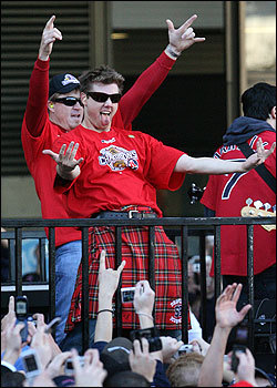 At some point during the parade, Papelbon donned a kilt.