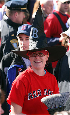 Mandy Fraser's hat celebrated both the Sox and Halloween.
