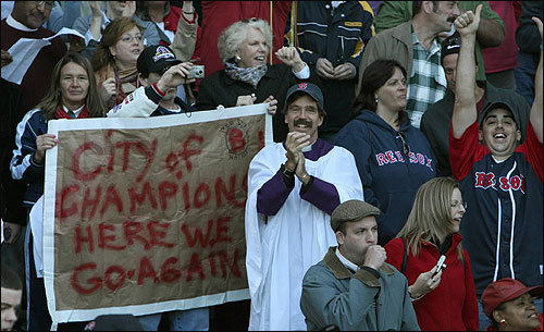 A pastor and other fans celebrated multiple titles in Boston.