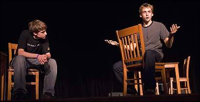 Steven Robertson and Christian Latham rehearse for ''The Laramie Project.''