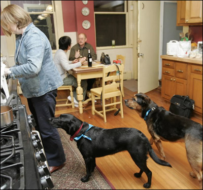 Sheila Larson, pictured with her dogs, and her husband John Larson (in background), already pay a whopping $5,700 a year to heat their Victorian-style home in Boston.