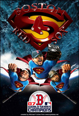 Michael Fulcher of South Weymouth, MA, sent in this image of the Sox stars as Supermen.