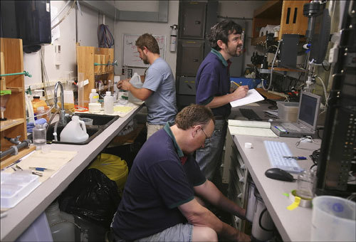 Inside the 20-foot-long lab, the three scientists worked nonstop, taking measurements of phytoplankton, temperature, salinity, carbon content, and other barometers of the Gulf of Maine's health.