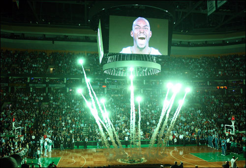 Kevin Garnett was not only a big part of the Celtics' season opener Friday night, he was also part of the team's pregame presentation, which got the Garden crowd fired up early.