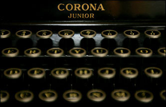 A Corona Junior typewriter sits on Ken Adams's desk Adams hasn't advertised the service since the late 1990s, as his business has changed with the times; but when he does get a call, he will take out some tools, go out to his home office, and bring the past back to life.