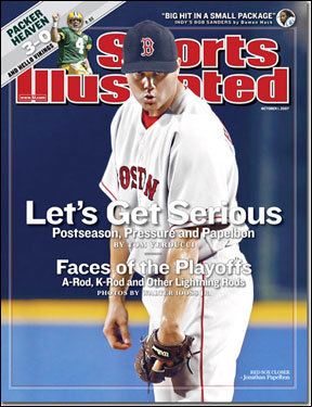 Red Sox closer Jonathan Papelbon Jonathan Papelbon and his famous stare were the lead image for a preview of the baseball postseason on Oct. 1, 2007. No jinx here, as the Red Sox went on to win their second World Series in four years.