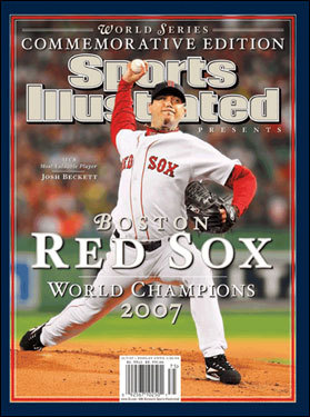 Beckett after Series win Josh Beckett, who was dominant in the 2007 postseason, was on the cover of a World Series commemorative issue Oct. 31, 2007.