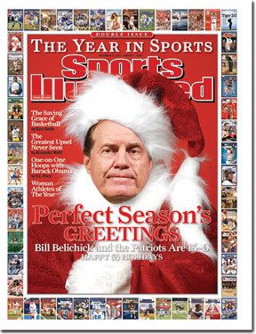Santa Belichick As the Patriots sat one win from a perfect regular season, coach Bill Belichick was the cover boy on Dec. 31, 2007.