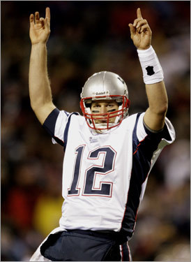 Tom Brady and the Patriots scored on their first seven possessions and tied a franchise scoring record in a 56-10 blowout over the Bills. Brady had five touchdown passes, four to Randy Moss.