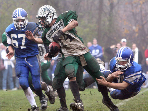 Manchester's Pat Orlando shedded a tackle while running upfield.