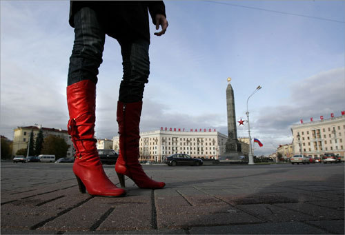Brightly-colored knee-high boots are considered the fashion common denominator amongst women in Belarus. This pair was photographed at Victory Square in Minsk, the capital of Belarus.