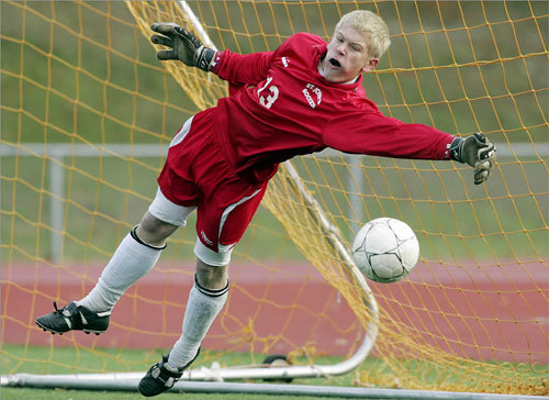 St. John's of Shrewsbury goalie Chris Perkins made the final save during a shootout against Framingham on Nov. 17. The save gave his team the victory and the MIAA Division 1 boys' soccer State Championship title.