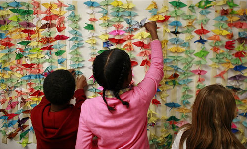 Fourth grade students from the Joseph P. Tynan School of Boston sent one thousand paper cranes to Hiroshima, Japan, as a symbol of peace. The students were inspired by the book, 'Sadako and the Thousand Paper Cranes', a story in which a young Japanese girl dies of leukemia, 'the atom bomb' disease.