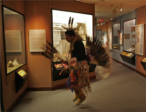 Pedro Fermino performed a warm-up dance from the Mashpee Wampanoag Tribe during the Thanksgiving Ceremony on Nov. 21 at the Peabody Museum, located at Harvard University in Cambridge.