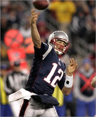 Patriots quarterback Tom Brady unloaded a pass against the Eagles.