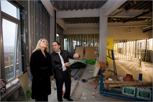 Nouvelle at Natick will offer 215 condominiums connected to Natick Collection. Here, Kellie and Michael DuGally checked out their unit, which was under construction.