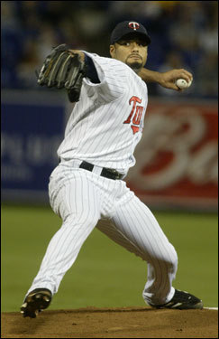 Twins ace Johan Santana was undoubtedly the jewel of the offseason trade market, having a record of 82-35 since 2003. Over those five seasons, he struck out 1,152 batters and walked just 245. He also won two Cy Young Awards, and he's just 28. The Sox and Twins went back and forth on potential trades for Santana, but Minnesota ultimately struck a deal with the Mets instead. We take a look at some of the players the Sox might have considered trading for Santana. But fear not, Sox fans: The kids are hanging around...