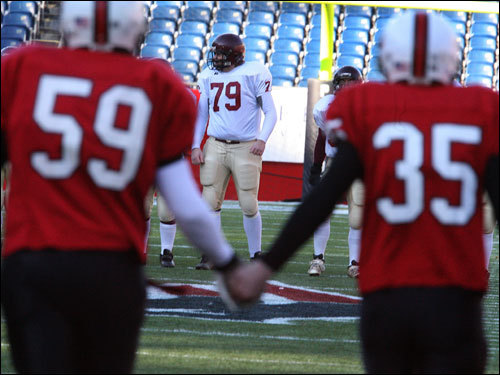 Hingham players arrived on the field to play Gloucester for the Division 2A Super Bowl.