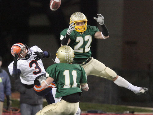 Bishop Feehan's Nicholas Schwieger can't catch a pass in the end zone as Nocolo Mastromatteo defends.