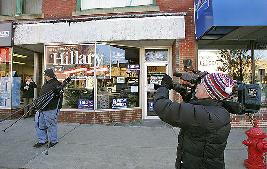 Although Hillary Clinton's campaign headquarters at 28 Main St. in Rochester, N.H., was closed yesterday, members of the media continued to monitor the scene. Throughout Rochester, residents were swapping stories about the hostage crisis.