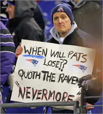 Before kickoff, a Patriots fan expressed his feelings about the unbeaten streak.