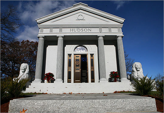 Thomas R. Hudson Jr.'s private family columbarium is the most ornate memorial at Blue Hill Cemetery in Braintree. Family members call it ''The Inn.''