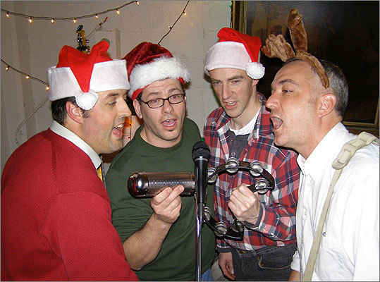 If there's karaoke, participate It's just good office politics, says Robin Abrahams. It shows you're a team player and not excessively risk-averse. Shown from left: Jonathan Noel, Johnny Snapps, Mike Hartford, and Roger Fisk of The Popgun Seven rehearsing for a Holiday Party.