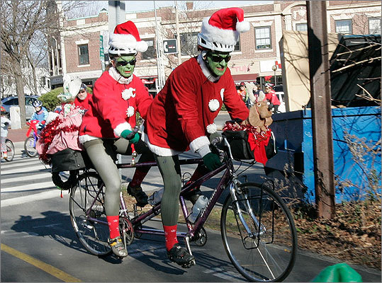 Get a sense of formality beforehand You don't want to be wearing an elf sweater and earrings with blinking Rudolph noses when everyone else is in sleek suits, or vice versa, advises Robin Abrahams. Shown: Suzi Hansen and her husband, Allen Hansen, ride a tandem bicycle dressed as grinches.
