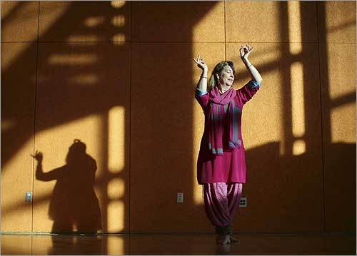 Gretchen Hayden, the daughter of Hollywood star Sterling Hayden, rehearsed her dance routine at Springstep in Medford. She has her own Indian dance company and teaches Kathak in the Boston area.