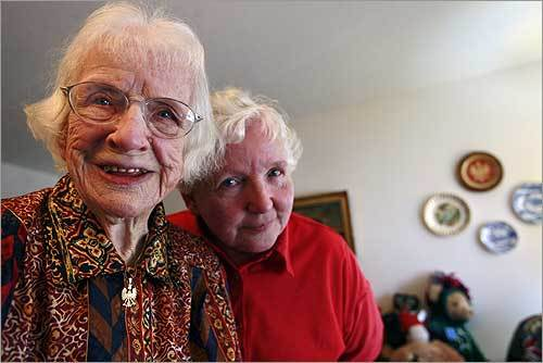 Pauline F. Kenick (left), 98, with her daughter Lois. Hillary Clinton mentions Pauline Kenick among elderly women who were born before women had the right to vote, but now could help make history by electing her as the first female president.