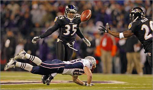 Patriots wide receiver Wes Welker was hit by Corey Ivy (35) of the Ravens as he tried to catch the ball during the Dec. 3 game against Baltimore. Ed Reed was there for the second-quarter interception, but lost the ball to Kevin Faulk at the New England 27.