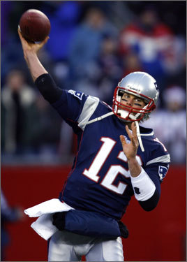 Tom Brady warmed up before the game.
