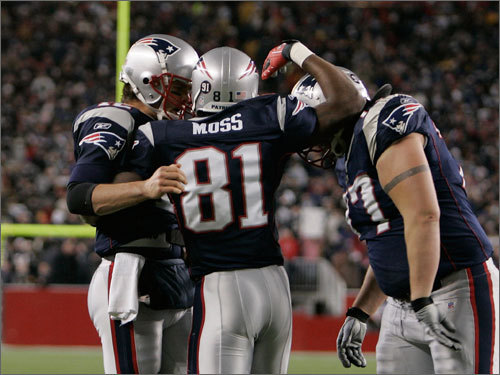 Randy Moss celebrated his second touchdown of the first half.