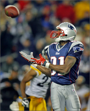 Later in the first half, Randy Moss found himself wide open on a deep throw from Tom Brady.