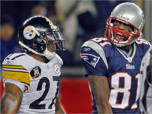 Patriots wide receiver Randy Moss taunted Steelers safety Anthony Smith after a third-quarter penalty.