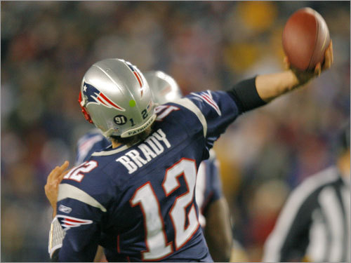 Patriots quarterback Tom Brady took the lateral from Randy Moss and heaved a long pass to a wide open Jabar Gaffney in the end zone.