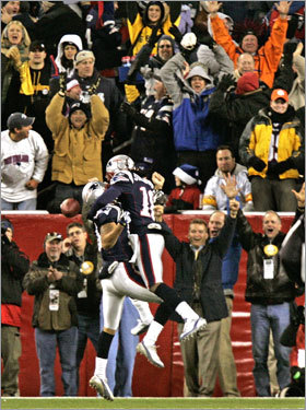 Patriots wide receivers Jabar Gaffney and Donte' Stallworth celebrated in the end zone after Gaffney's touchdown catch.