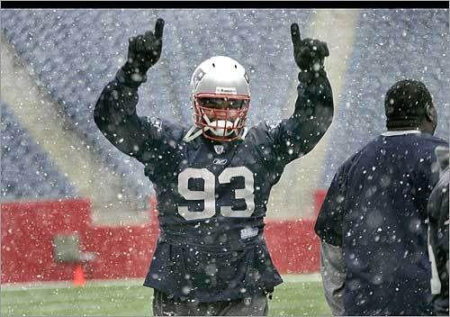 New England Patriots player Richard Seymour gave a gloved thumbs up today as the snow began to fall in Boston while the team convened for a practice session at Gillette Stadium. Was this just a preview for what's in store come Sunday when they play against the Jets?