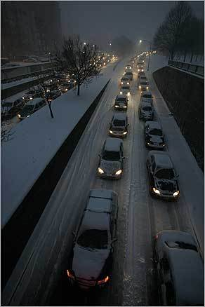 As it got dark, traffic had not improved on Storrow Drive.