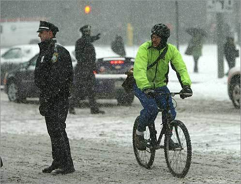 Bikers joined a mass exodus of workers from offices around the region after many companies sent staff home early.