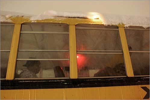 A school bus was stuck in stalled traffic near Westland Avenue.